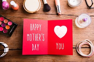 Mothers day composition. Greeting card land beauty products.