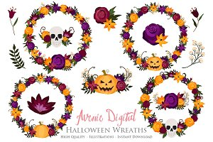 Halloween Flower Wreath Clipart