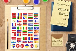 Watercolor European Flags