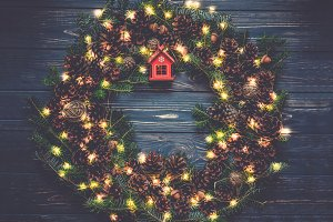 Christmas wreath with lights garland