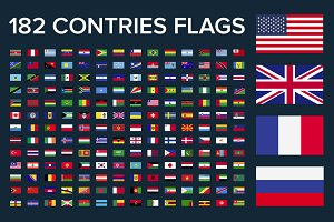 182 contries flags