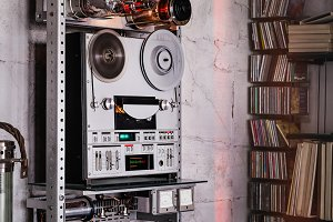 Analog stereo tape recorder.