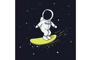 Surfer astronaut flying on surfboard