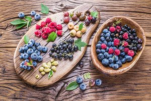 Ripe berries on the old wood