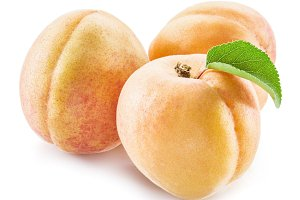 Apricot fruit with leaves