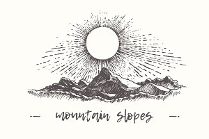 Illustration of mountain slopes