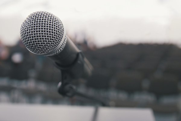 Conference of lecture - microphone…