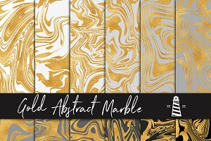 Gold Marbling Digital Paper