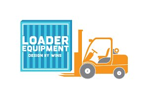 Loader equipment. Icons set