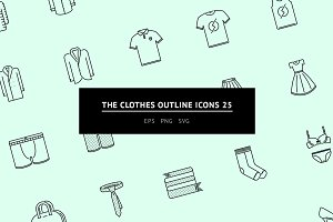 The Clothes Outline Icons 25