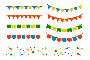 Vector flags and garlands