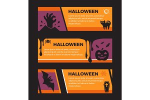 Happy Halloween banners. Set of design elements.