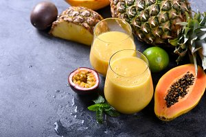 Healthy smoothie with tropical fruit