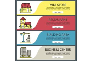 City buildings web banner templates set.