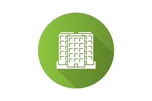 Multi-storey building flat design long shadow glyph icon