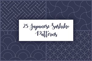 25 Japanese Sashiko Dotted Patterns