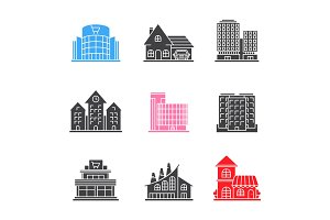 City buildings glyph icons set