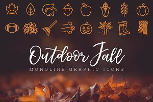 Outdoor Fall Monoline Icons