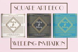 Square Art Deco Wedding Invitation