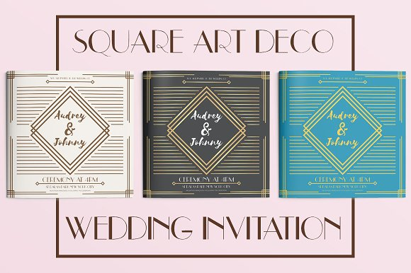 square art deco wedding invitation invitation templates creative