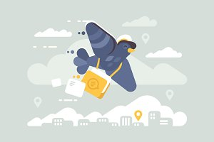 Postage pigeon character