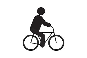 Man riding bike silhouette icon