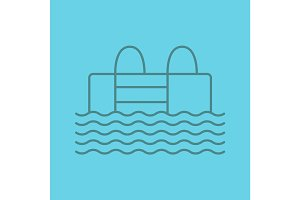 Swimming pool linear icon