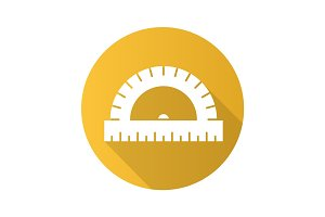 Protractor flat design long shadow glyph icon