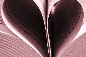 Love book, heart shape