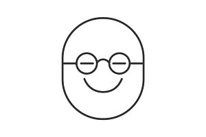 Clever smiley linear icon