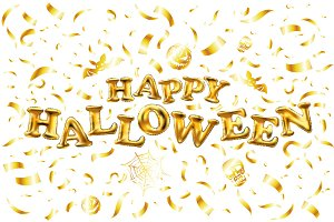 Happy Halloween gold glitter vector