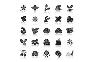 Spices drop shadow black glyph icons set