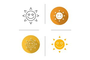 In love sun smile icon