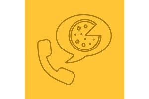 Pizza phone order linear icon