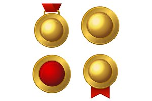 Golden Labels and Medals Set