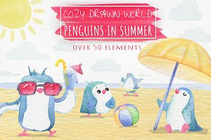 Watercolor Cute Cartoonish Penguins