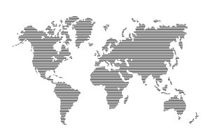 Striped Gray World Map