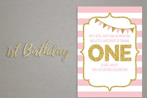 "1st Birthday invitation card ""ONE"""