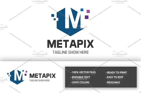 Metapix Letter M Logo in Logo Templates - product preview 3