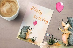 Hand drawn watercolor birthday card