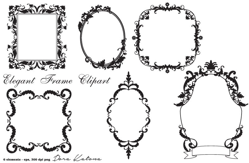 elegant frame clipart vector eps illustrations creative market - Elegant Frames