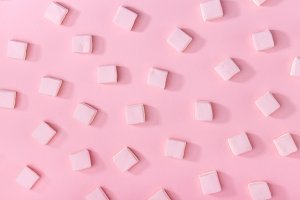 Pink marshmallows on pink