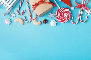 Christmas candies in composition