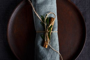 Wrapped and decorated napkin