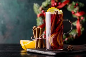 Hot mulled wine on table