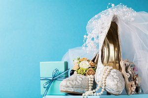 Bridal shoes with wedding props
