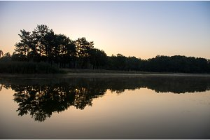 Early morning in the park by the lake. Sunrise in the forest.