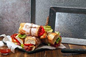 Fresh baguette sandwiches bahn-mi styled