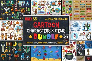 Cartoon Characters & Items Bundle