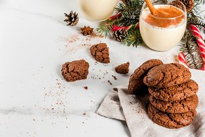 Christmas Chocolate Crinkle cookies